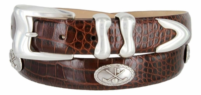 Meadow Lark Men's Italian Calfskin Leather Dress Conchos Belt