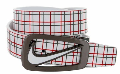 Nike Golf Signature Swoosh Plaid Cutout II Leather Belt 11149196