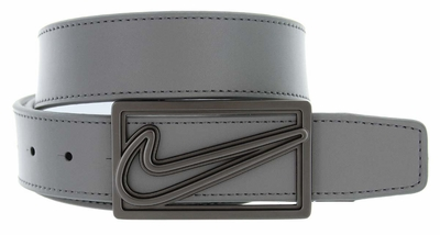 Nike Square Cutout Reversible Leather Belt Charcoal/White 11148456