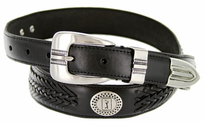 2662500 PGA TOUR Men's Braided Leather Golf Conchos Belt - Black