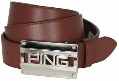 Ping SIgnature Trademark Cutout Leather Golf Dress Belt-Cognac