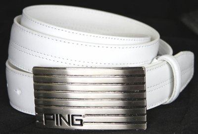 Ping Silver Plate Leather Dress Golf Dress Belt-White