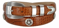 Silver Golf Star Men's Leather Golf Belt
