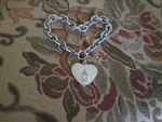 Silver Tone Charm Bracelet with Heart Charm