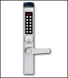 KABA E-3600 ELECTRONIC PUSHBUTTON / SMART CARD LOCKSET FOR EXISTING ADAMS RITE LOCK AT STOREFRONT DOOR (click here to view and buy item)