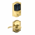 SCHLAGE CAMELOT STYLE CONNECT WITH ACCENT LEVER BRIGHT BRASS (click here to view and buy item )