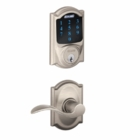 SCHLAGE CAMELOT STYLE CONNECT WITH ACCENT LEVER SATIN NICKEL ( click here to view and buy item )