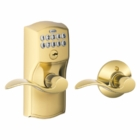 Schlage Camelot Style Keypad Accent Lever with Auto Lock Bright Brass ( click here to view and buy item )