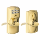 SCHLAGE CAMELOT STYLE KEYPAD ACCENT LEVER WITH FLEX LOCK BRIGHT BRASS ( click here to view and buy item )