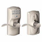 SCHLAGE CAMELOT STYLE KEYPAD ACCENT LEVER WITH FLEX LOCK SATIN NICKEL ( click here to view and buy item )