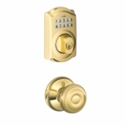 Schlage Camelot Style Keypad Deadbolt and Georgian Knob Bright Brass ( click here to view and buy item )