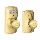 SCHLAGE CAMELOT STYLE KEYPAD GEORGIAN KNOB WITH FLEX LOCK BRIGHT BRASS ( click here to view and buy item )