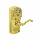 SCHLAGE PLYMOUTH KEYPAD LOCK WITH AUTO LOCK / FLAIR 505 POLISHED BRASS