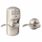 SCHLAGE PLYMOUTH STYLE KEYPAD ACCENT LEVER WITH AUTO LOCK SATIN NICKEL ( click here to view and buy item )