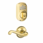 Schlage Plymouth Style Keypad Deadbolt and Flair Lever Bright Brass ( click here to view and buy item )