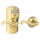 SCHLAGE PLYMOUTH STYLE KEYPAD FLAIR LEVER WITH AUTO LOCK BRIGHT BRASS ( click here to view and buy item )