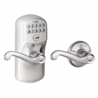 SCHLAGE PLYMOUTH STYLE KEYPAD FLAIR LEVER WITH AUTO LOCK BRIGHT CHROME ( click here to view and buy item )