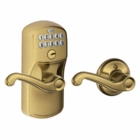 SCHLAGE PLYMOUTH STYLE KEYPAD FLAIR LEVER WITH AUTO LOCK ANTIQUE BRASS ( click here to view and buy item )