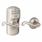 SCHLAGE PLYMOUTH STYLE KEYPAD FLAIR LEVER WITH AUTO LOCK SATIN NICKEL ( click here to view and buy item )