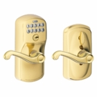 Schlage Plymouth Style Keypad Flair Lever with Flex Lock Bright Brass ( click here to view and buy item )