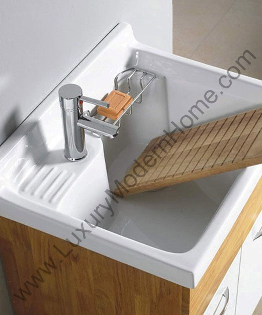 Alexander 24quot laundry utility sink for Deep laundry room sinks