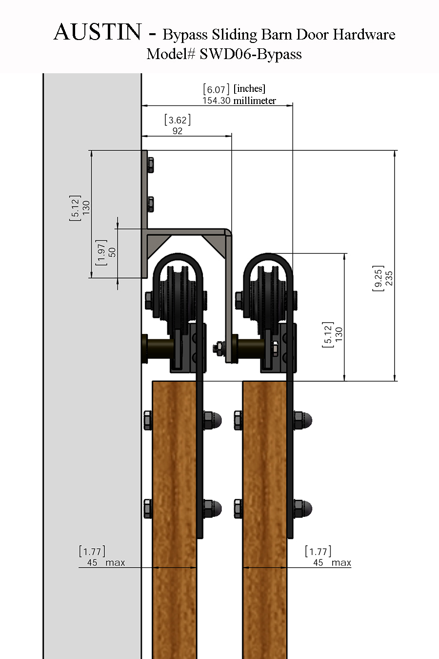 Austin Bypass Sliding Barn Door Hardware