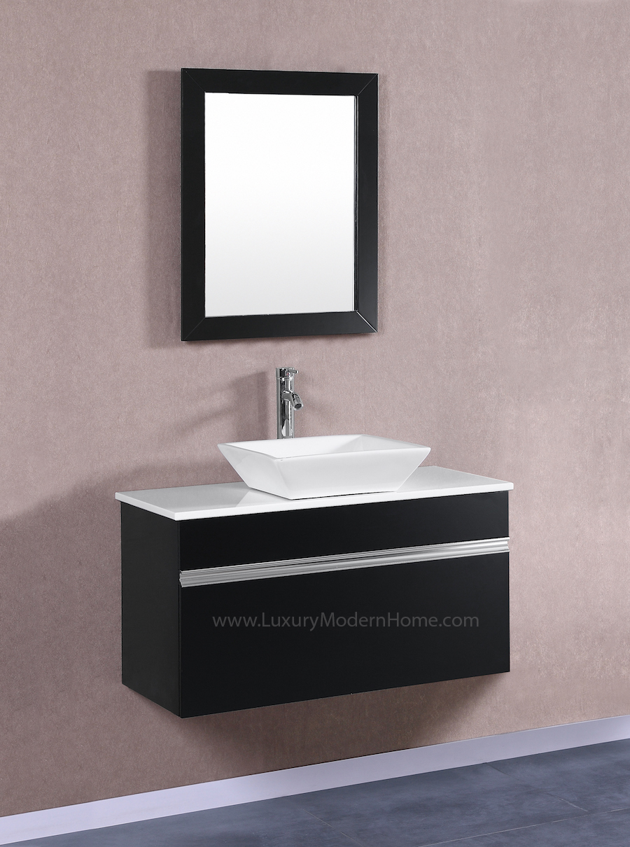 MARCUS 36 Small Black Vanity Sink