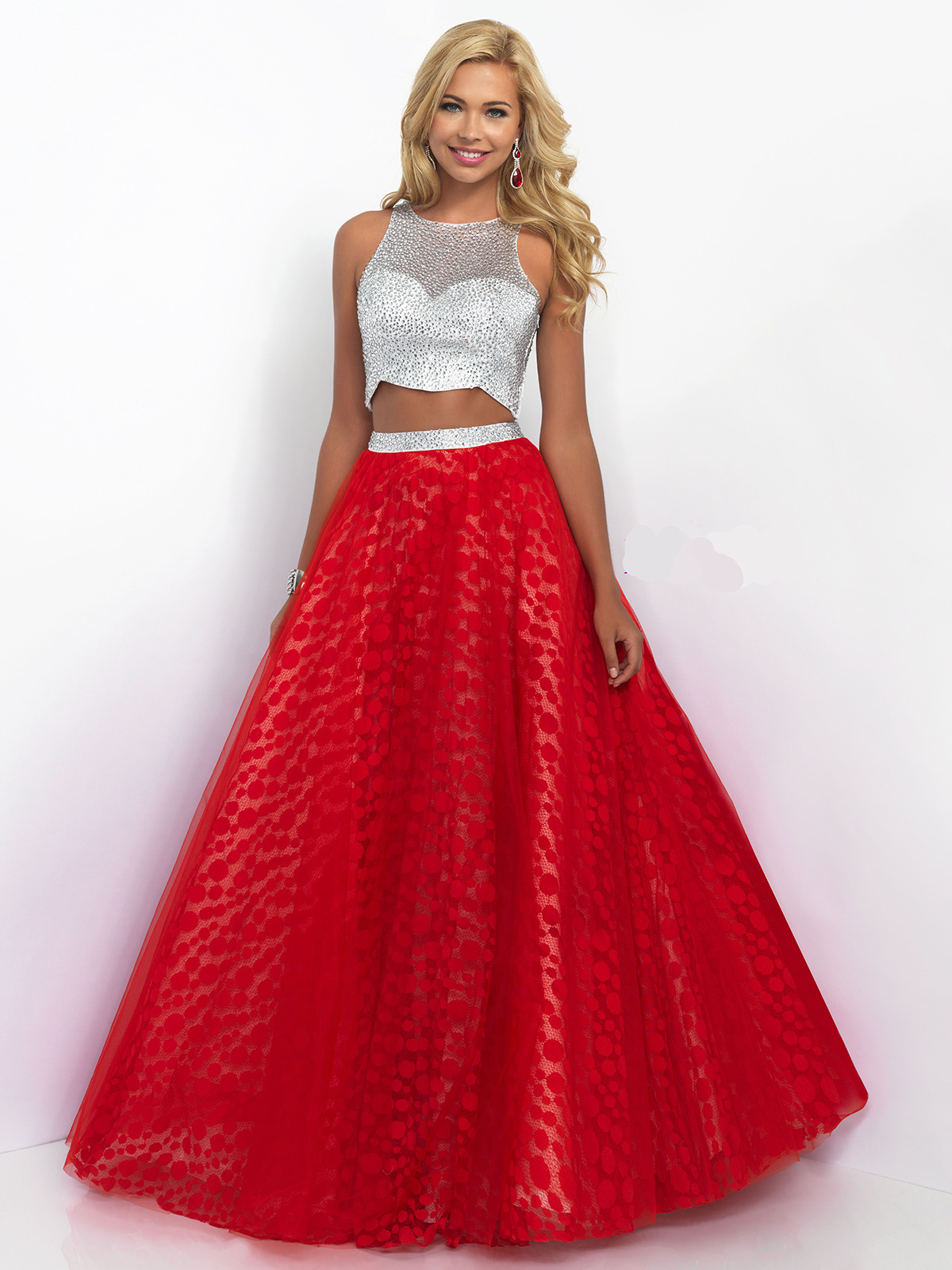 Wedding Prom Ball Gowns blush pink 5528 two piece sleeveless prom ball gowndressprom net zoom