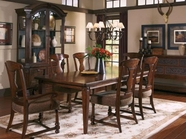 A.R.T. 205220-205203-205205-2304 Whiskey Oak Leg-Dining-Table-Slat-Back-Side-Chair 7Pc Set