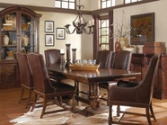 A.R.T. 205221-2304BS-TP-205201-2304 Whiskey Oak Trestle-Dining-Table-Leather-Side-Chair 5 Pc Set
