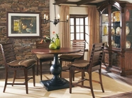 A.R.T. 205226-2304TP-BS-205209-2304 Whiskey-Oak-Round-Gathering-Table-Chair 5 Pc Set