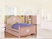 ACME 00730F PINK W/WH FLOWER FULL BED HB/FB/R