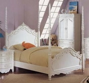 ACME 00995F PEARL WH POSTER FULL BED HB/FB/R