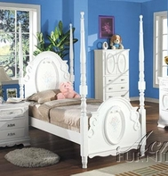 ACME 01660T FLORA WH TWIN POST BED HB/FB/R