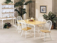 Acme 02247NW-2482-- Natural and White Solid Wood Table Set