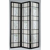 ACME 02254 3-PANEL BLACK WOOD SCREEN