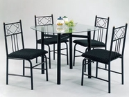 "ACME 02520BK 5PC PK DINING SET W/ 36"" SQ CLEAR GL"