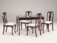 Acme 06004 Queen Anne 5pc Dinette Set Cherry Table with Apron and Chairs