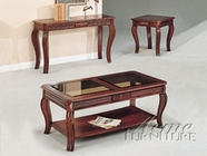 ACME 06152 CHERRY 3PC C/E PK TABLE SET W/GL TOP