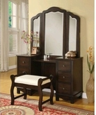 ACME 06552-53 Annapolis Espresso Vanity Set with Tri-Fold Mirror
