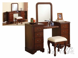 ACME 06565-56 Louis Philippe Cherry Vanity Set with Mirror