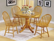 ACME 07021 OAK 5PC PK DINING SET (RD PED TABLE)