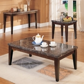 ACME 07142-43-44 Black Marble Top Coffee End Table Set