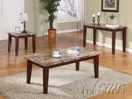 ACME 07381-82-83 Granada Brown Marble Top Coffee End Table Set