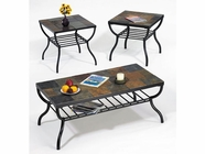 ACME 08033A-34A Stone Top Coffee-End Table Set