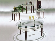 ACME 08137 AVALON 3PC C/E TABLE SET (ST & GL)