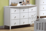 ACME 09159 WH YOUTH 9 DRAWER DRESSER