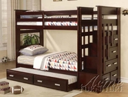 ACME 10170A LADDER ESPRESSO T/T BUNKBED & TRUNDLE (4CTN)