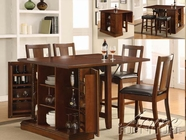 ACME 10232-4X35 Kitchen Island Dark Oak Finish Counter Height Table Set