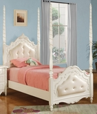 ACME 10995F PEARL WH POSTER FULL BED W/LEATHER HB/FB/R -W/P2